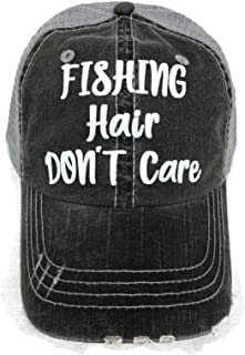 White Glitter Fishing Hair Don't Care Distressed Look Grey Trucker Cap