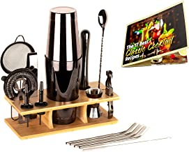 ODOA Cocktail Shaker Set - (11 Pieces) with Eco Friendly Reusable Straws and Recipe - Bartender Kit with Bamboo Stand – 75...