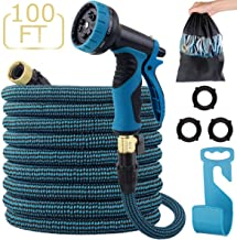 LANIAKEA Garden Hose, 100ft Expandable Water Hose with Double Latex Core, Solid Brass Fittings, Extra Strength Fabric, Flexible Expanding Hose with 9 Function Spray Nozzle