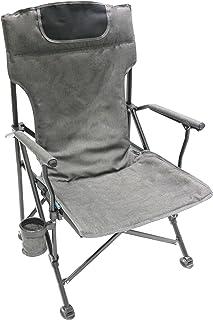 Homecall - Silla de camping plegable acolchada con respaldo alto (gris)