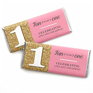 1st Birthday Girl - Fun to be One - Candy Bar Wrappers First Birthday Party Favors - Set of 24