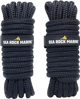 "Sea Rock Marine Premium Double Braided Nylon Dock Lines (2 Pack)  15' 25' or 30' with 12"" Eyelet & Dock Line Ties   Dock L..."