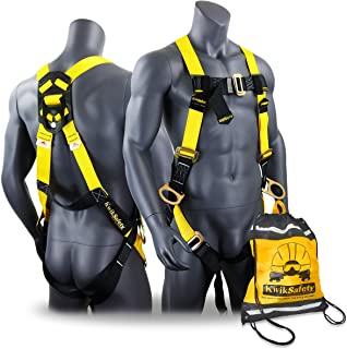 KwikSafety (Charlotte، NC) THUNDER Harness Safety | ANSI OSHA محافظت شخصی در برابر سقوط کامل بدن 1 حلقه پشتی 2 حلقه جانبی و عبور از تسمه های دست و پنجه نرم ساخت و ساز ابزار بام برج صنعتی