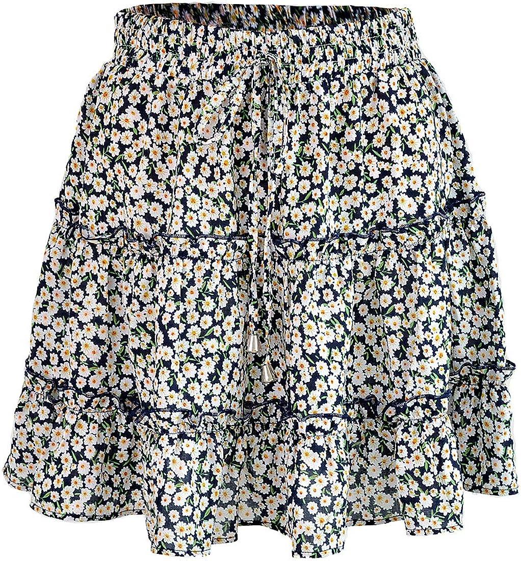 Huicai Beach Ruffle Floral Skirt Casual Comfortable Pleated Skirt for Women