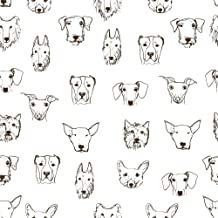 WallsByMe Peel and Stick White Dog Animal Fabric Removable Wallpaper 8280-2ft x 8.5ft (61x260cm)