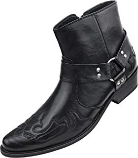 Rancho - Men's Western Boots, Designer Cowboy Boots for Men, Manmade Leather - Wingtip High Rise Boots