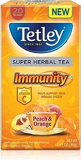 Tetley Super Herbal Tea, Immunity, Peach & Orange, 20 Tea Bags (Pack of 6)