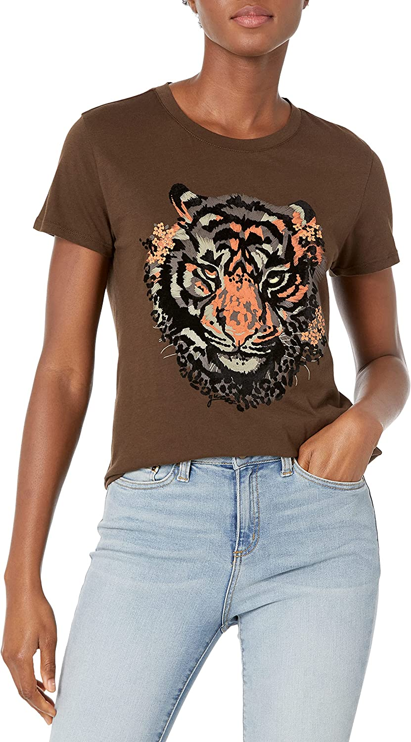 GUESS Women's Eco Short Sleeve Animal Graphic Easy Tee