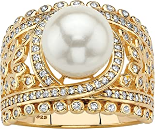 14K Yellow Gold over Sterling Silver Round Simulated Pearl and Round Cubic Zirconia Floral Ring