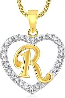 MEENAZ 'R' Letter Heart Gold Plated American Diamond Cz Chain Pendants for Women Girls Men Boys Stylish