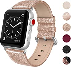 SWEES Leather Band Compatible for Apple Watch 38mm 40mm, Genuine Leather Bling Dressy Strap Compatible iWatch Series 5 Series 4 Series 3 Series 2 Series 1, Sports & Edition Women, Shiny Rose Gold
