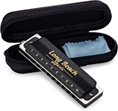 Blues Harmonica Key of C- Professional Quality- 10 Holes, 20 Tones- Phosphor Bronze Reed, with Zipper Case- Long Beach Music
