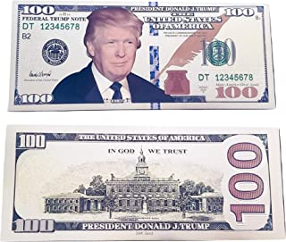 TrendyLuz USA Donald Trump Face Gold Color Presidential $100 Dollar Bill with Currency Holder