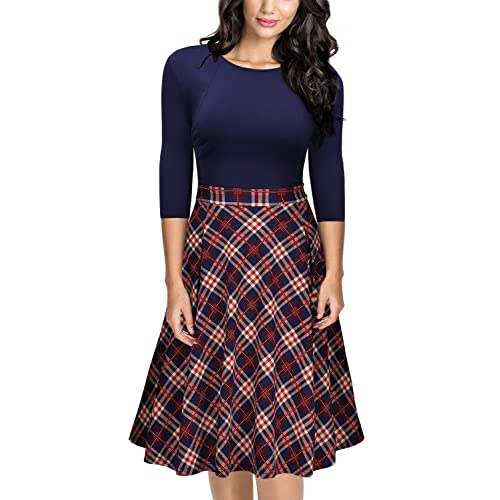 bfa16fe8e8ff MISSMAY Women s Vintage Plaid Patchwork A-line Half Sleeve Cocktail Party  Dress