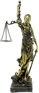 Globe Imports Blindfolded Lady of Justice Statue, Bronze Finish Lightweight Poly-Resin, 11.5 Inches Tall