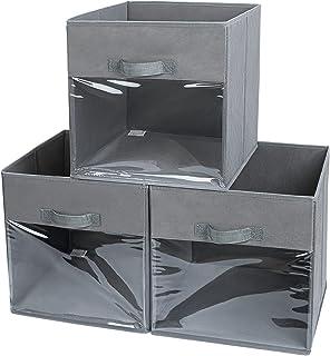DIMJ Lot de 3 bacs de rangement pliables en tissu avec fenêtre transparente et poignée pour armoire, armoire, placard, éta...