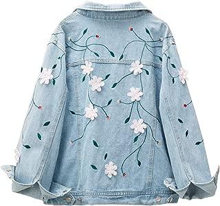 Women's Jean Jackets Boyfriend Oversized Denim Jacket Coat with Floral Embroidered
