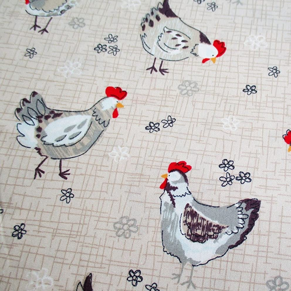Chicken Rooster Fabric Chick Chickens on Light Brown Fabric 36 by 36 Inch Wide (1 Yard) (CT624)