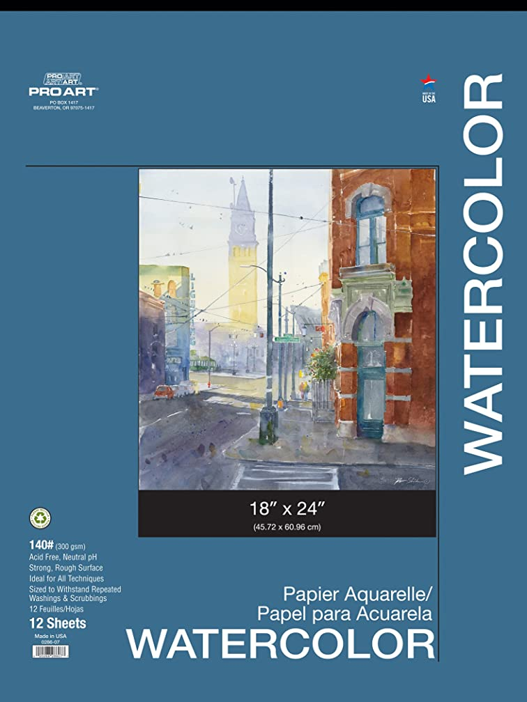 PRO ART 18-Inch by 24-Inch Watercolor Paper Pad, 140-Pound Paper