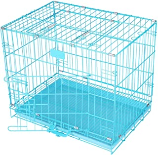 Naaz Pet Supplies Metal Cage Single Folding Door with Removable Tray for Dog | Cat | Kitten | Pup | Rabbit - (Blue-24 Inch)