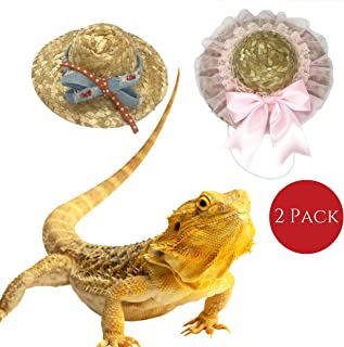Bearded Dragon Clothes For Lizards Hats - 2 Pack Designer Bearded Dragon Hat For Lizard, Ragged Jeans & Pink Ribbon, Bearded Dragon Costumes For Lizard Hat Accessories, Reptile Bearded Dragon Toys