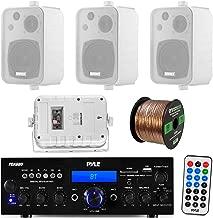 Pyle PDA6BU 200-Watt 2-Channel Digital USB/AUX FM Radio Stereo Amplifier Receiver, Bundle Combo With 4x Enrock EKMR408W 4