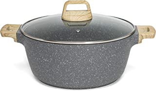 Ecolution Farmhouse Cast Aluminum Speckle Coated Stockpot Casserole Dish with Ergonomic Wood Look Handles, Dishwasher Safe...