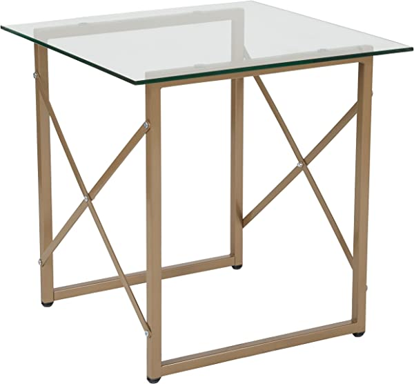 Flash Furniture Mar Vista Collection Glass Side Table With Matte Gold Frame