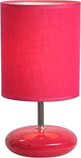 Simple Designs LT2005-PNK Stonies Small Stone Look Bedside Table Lamp, 10.63 x 5.51 x 5.51, Pink