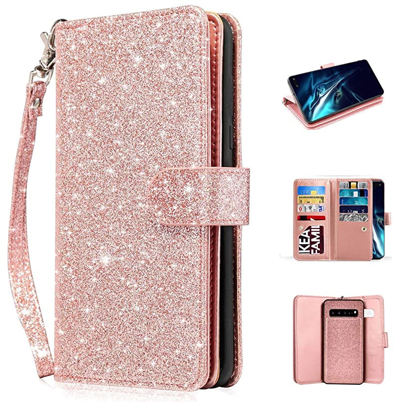 Newseego Compatible with Samsung Galaxy S10 5G Leather Case,Glitter Faux PU Magnetic Closure Multi-CreditCard Slot Cash Holder Protective Case Detachable 2 in 1 Wallet Cover with Wrist Strap-Rose Gold