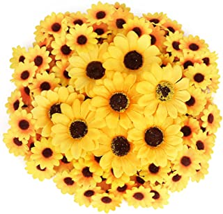 JOHOUSE 220PCS Artificial Sunflower Heads, Fake Sunflowers Faux Silk Sunflower Faux Floral Yellow Gerber Daisies for Autum...
