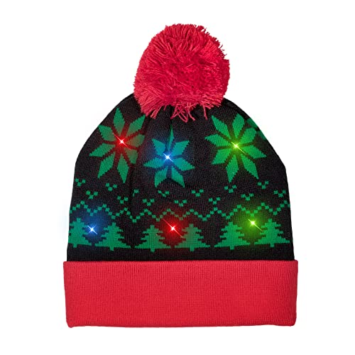 d1e66f27c5a Windy City Novelties LED Light-up Knitted Ugly Sweater Holiday Xmas  Christmas Beanie - 3