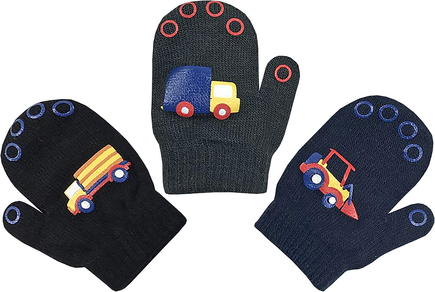 N'Ice Caps Toddler Boys Girls and Infants Magic Stretch Mittens 3 Pairs Assortment