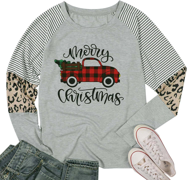 Merry Christmas Baseball T Shirts Women Christmas Long Sleeve Raglan Shirt Christmas Plaid Truck Tree Graphic Splicing Top
