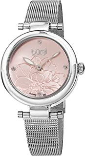 Burgi Diamond Accented Flower Dial Watch - 4 Diamond Hour Markers On Stainless Steel Mesh Bracelet - BUR260