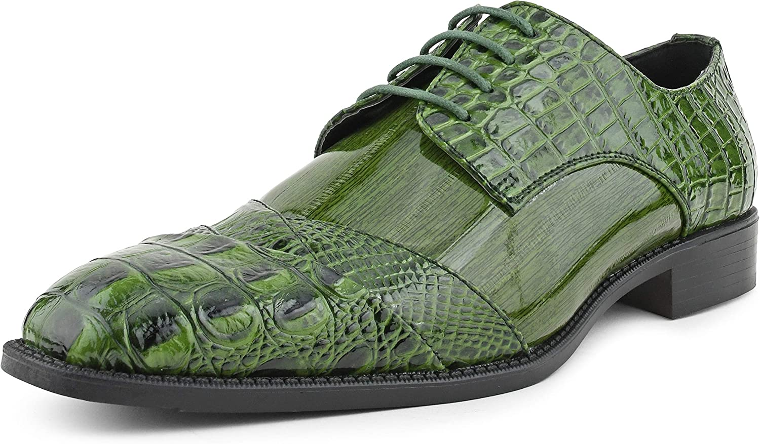 Bolano Bandit Men's Oxford Dress Shoes - Croc Folded Cap Toe Formal Dress Shoes for Men with Alligator Print and EEL Skin Trim - Designer Formal Shoes with Lace Tie