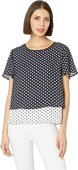 Flutter Short Sleeve Tiered Diamond Geo Color Block Blouse