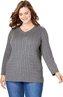 Women's Plus Size Cable Knit V-Neck Pullover Sweater