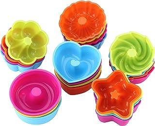 WOMGF Moldes de horneado para Magdalenas y Muffins Molde Silicona Antiadherente y Reutilizables, Silicona de Grado Alimenticio, Pack de 24