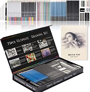 Premium Art Pencils Love Art 75pcs Assorted Pencil Set with Sketching and Coloring Pencil, Including Sketching, Charcoal, ...