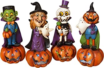 Gerson International Halloween Ghouls LED Light Up Figurines 4 Piece Set Dracula Witch Skeleton
