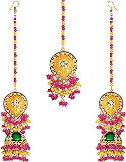 Aheli Enamel Earrings Maang Tikka Set Bollywood Ethnic Wedding Fashion Jewelry for Women