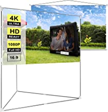 VIVOHOME 100 Inch 2-in-1 Video Projector Screen with Triangle Stand, 16:9 Aspect Ratio Hanging Screen for Home School Office Indoor Outdoor