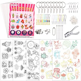 ONEETIS 176Pcs Heat Shrink Plastic Sheet Kit,Heat Shrinky Sheets Creative Pack,Including 15Pcs Blank Shrink Film Paper and...