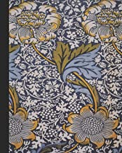 Vintage illustration journal: Unique designed dot grid Journal for the vintage illustration lover - Arts and craft movement - William Morris - Blue and yellow kennet indigo print