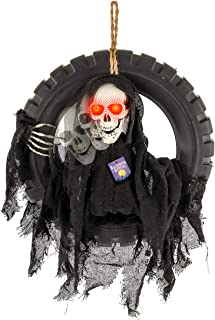 Halloween Haunters Animated Hanging Talking Moving Skeleton Head Death Reaper in Tire Swing Prop Decoration - 16