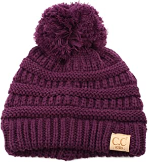 abeab883660 Kids Ages 2-7 Pompom Chunky Thick Stretchy Knit Slouch Beanie Cap Hat