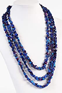 Beautiful Crochet Rope Scarf Necklace- Charming, Quality, Handcrafted- Metallic Thread Adds Subtle Sparkle- Galaxy