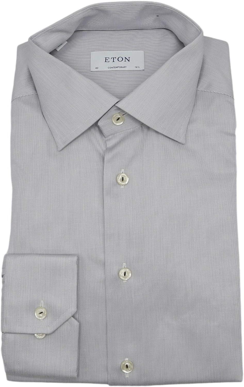 Eton Men's Light Grey Contemporary Royal Twill Dress Shirt - 42-16.5 (L)