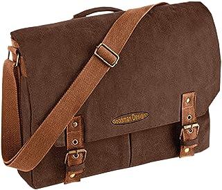 Unbekannt Quadra Studenten Tasche Retro Style: Vintage Canvas Satchel Messenger Umhängetasche mit Goodman Design  Logo braun